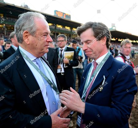 SANTA ANITA. Breeders Cup Classic. Trainer JAMIE OSBORNE and owner Michael Buckley wait on the result of the stewards enquiry after TOAST OF NEW YORK finished 2nd.