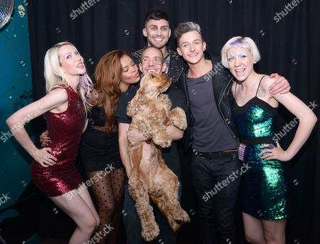 Stock Picture of Jake Quickenden, Stephanie Nala, Blonde Electra and Jack Walton with with G-A-Y owner Jeremy Joseph and his dog Jacob