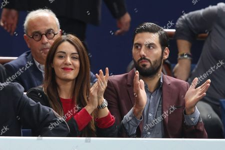 Sofia Essaidi (L) and her boyfriend Adrien react during the final