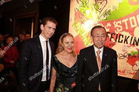 Stock Photo of Sebastian Kurz, Benita Ferrero-Waldner, Ban Ki-moon