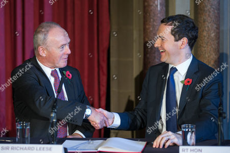 Sir Richard Leese and The Chancellor of the Exchequer George Osborne MP at Manchester Town Hall signing a deal to devolve power to Greater Manchester, including giving the city a Mayor and greater control over its finances.