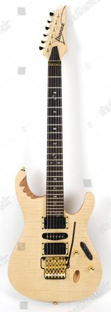 An Ibanez Herman Li Egen8 Electric Guitar In A Platinum Blonde Finish