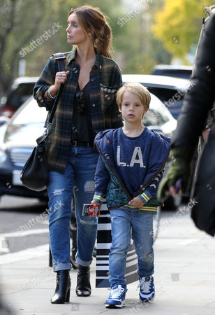 Louise Redknapp and son Beau Redknapp shopping in Notting Hill