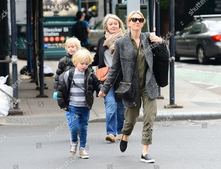 Naomi Watts with sons Alexander Pete, Samuel Kai Schreiber and mother Myfanwy Roberts