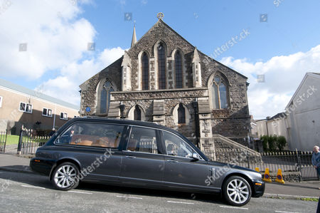 Stock Picture of The coffin of Alvin Stardust arrives for his funeral in the St Thomas district of Swansea this afternoon, the same church that he married local girl Julie Paton in the 1990's.