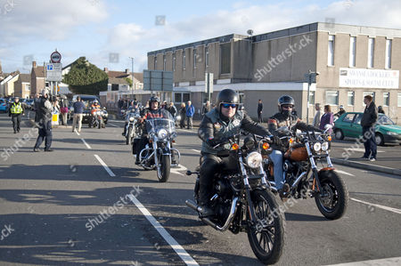 Alvin Stardust funeral cortege is led by around 50 members of the Harley Davidson Owners Club in the St Thomas district of Swansea this afternoon