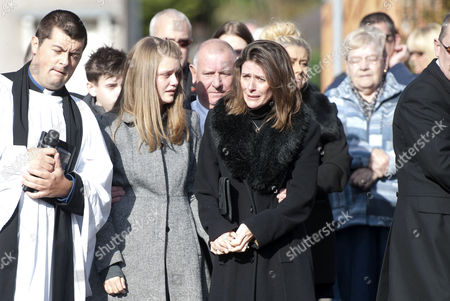 Julie Paton, wife to the late singer Alvin Stardust outside St Thomas church in Swansea today before the start of the funeral