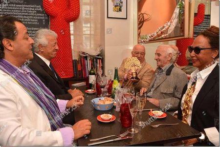 Stock Photo of Ghada Sakir, Semiha Sakir, Chico Bouchikhi, Charles Aznavour, Turkish Ambassador Hakki Akil and Erkan Ozerman