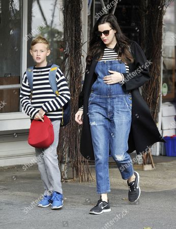 Stock Picture of Liv Tyler with son Milo Langdon