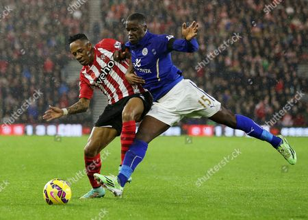 Nathaniel Clyne of Southampton and Jeffrey Schlupp of Leicester City