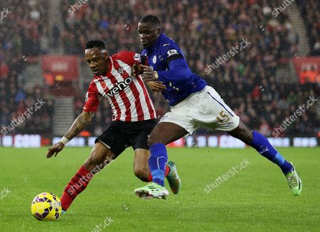 Nathaniel Clyne of Southampton and Jeffrey Schlupp of Leicester City.
