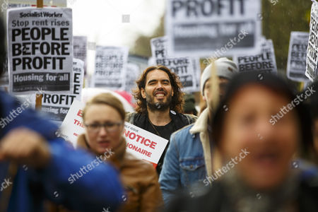 Russell Brand joins a group of east London residents who protest against rising housing prices and The Benyon Estate, which is owned by Conservative MP Richard Benyon as longstanding tenants of New Era Estate in Hoxton are getting their rents hiked up after the company bought the estate.