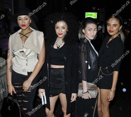Neon Jungle (Amira McCarthy, Shereen Cutkelvin, Asami Zdrenka & Jessica Kate Plummer) attend the Hairfinity UK launch party, Il Bottaccio, Grosvenor Place, on Saturday November 08, 2014 in London, England, UK.