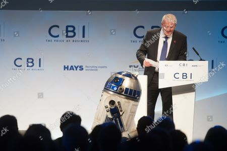 Stock Picture of Star Wars character R2D2 makes an appearance during speech of Ivan Dunleavy, Chief Executive of Pinewood Shepperton plc