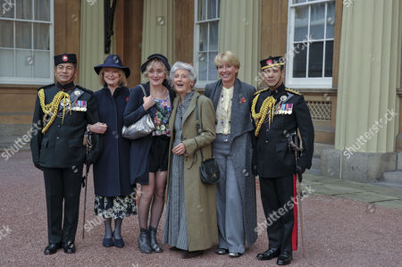 Phyllida Law seen after receiving her OBE for services to Drama and for charitable services, with daughters Emma Thompson and friend Joanna David