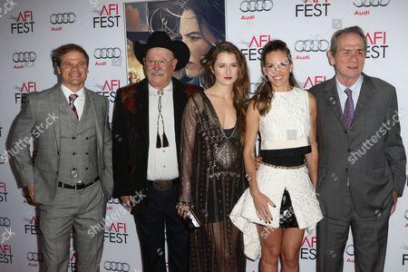 Evan Jones, Barry Corbin, Grace Gummer and Hilary Swank and Tommy Lee Jones