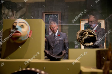 Prince Charles looks at First Nation artifacts