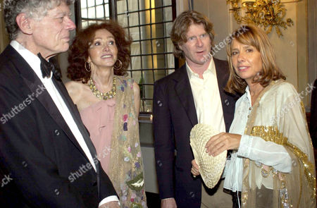 GORDON GETTY WITH WIFE ANNE AND MARK GETTY WITH GISELA GETTY