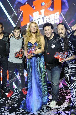 Martin Garrix, Paris Hilton, Joachim Garraud and Steve Aoki