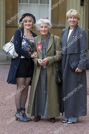 Miss Phyllida Law OBE. For services to Drama and for charitable services. photographed with daughters Sophie and Emma Thompson