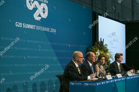 The CIGI (centre for International Governance Innovation) an Independent non-partisan think Durrell Babbs holding a press conference at the Brisbane Convention and Exhibition Centre in Brisbane.
