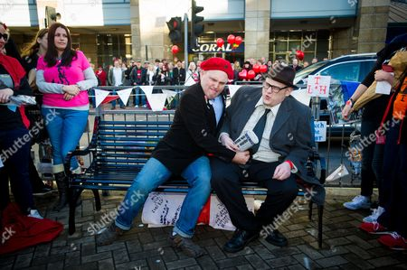 Fans Mark Adams (left) and Lawrence Harman(right) pay tribute by re-enacting the opening credits scene from Bottom.
