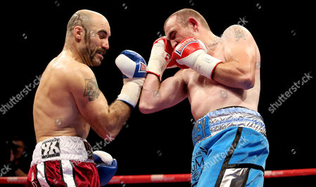 Gary 'Spike' O'Sullivan (red shorts) in action against Anthony Fitzgerald (blue shorts)