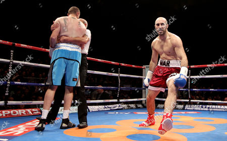 Stock Photo of Gary 'Spike' O'Sullivan (red shorts) celebrates a first round knockout against Anthony Fitzgerald (blue shorts)