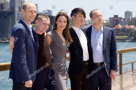 Geoff Evans, Jack O'Connell, Angelina Jolie, Miyavi and Matthew Baer