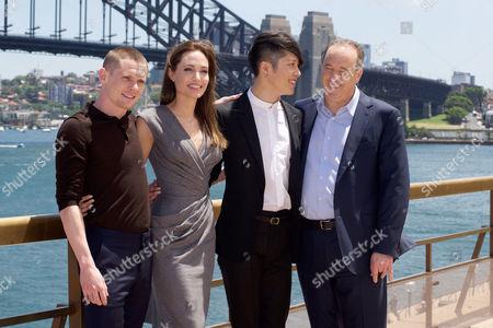 Jack O'Connell, Angelina Jolie, Miyavi and Matthew Baer