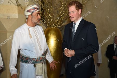 Prince Harry attends a dinner at the Al Bustan Palace Hotel with Sayyid Haitham Bin Tariq Al Said