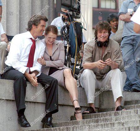 Pierce Brosnan and Julianne Moore and film director Peter Howitt