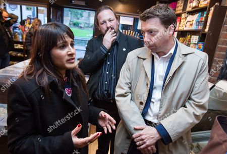 Naushabah Khan (Labour candidate) and Iain McNicol (General Secretary of the Labour Party) in Sweet Expectations sweet shop on High Street, Rochester