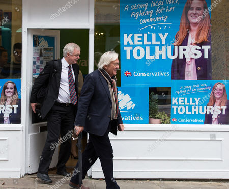 David Davis and Bob Marshall-Andrews outside the Conservative Party office in Rochester