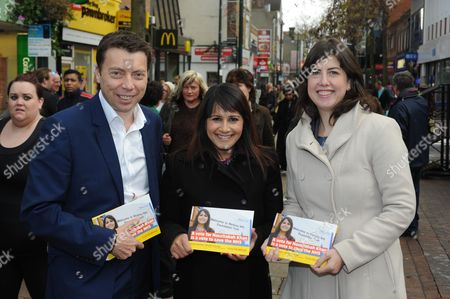 Iain McNicol, Naushabah Khan (Labour candidate) and Lucy Powell, Chatham