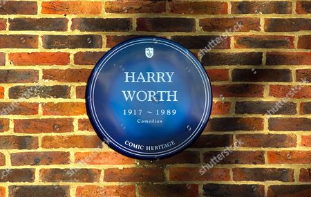 Stock Picture of Comic Heritage Blue Plaque in memory of Harry Worth