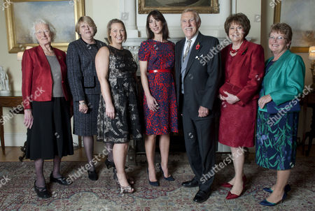 Editorial picture of Samantha Cameron At No 10 Downing Street With Sir Bruce Forsyth And Daily Mail Inspirational Women Of The Year Finalists. Left To Right Susan Belgrave Jeanette Orrey Naomi Thomas Janis Feely And Pat Rogers Picture Murray Sanders Daily Mail.