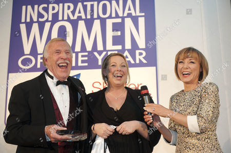 Stock Picture of Daily Mail Inspirational Woman Of The Year Naomi Thomas With Sir Bruce Forsyth And Host Sian Williams After Receiving Her Award.