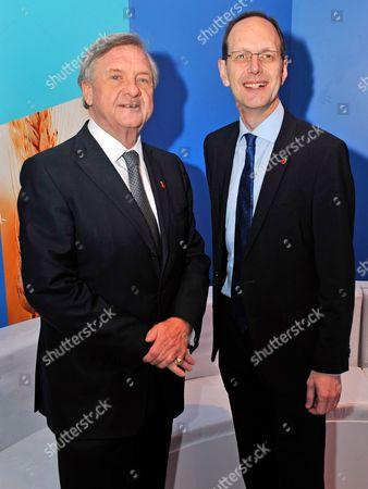 Cbi President Sir Michael Rake (l) And Cbi Dir. Gen John Cridland - Cbi (confederation Of British Industries) Conference At The Hilton Metropole Hotel London. -.