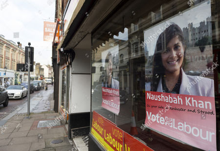 Stock Image of Campaign posters featuring Labour candidate Naushabah Khan
