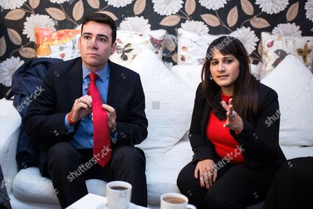 Shadow Health Secretary Andy Burnham and Labour candidate Naushabah Khan at a meeting to discuss local health issues in Rochester