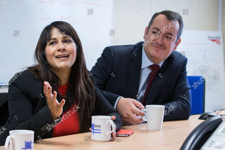 Labour candidate Naushabah Khan and Shadow Transport Secretary Michael Dugher at the development site for the new Rochester Railway Station