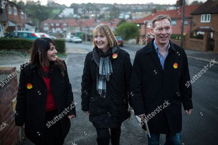 Labour candidate, Naushabah Khan, Deputy Leader of the Labour Party, Harriet Harman and Chris Bryant canvassing in Rochester