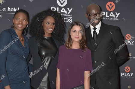 Stock Photo of Muriel Hurtis, World running champion, Emilie Gomis, olympic medalist and European Champion of Basketball, Cecile Gres, journalist of sporting magazine l'Equipe, Sylvere Henri Cisse, journalist at Canal Plus Television