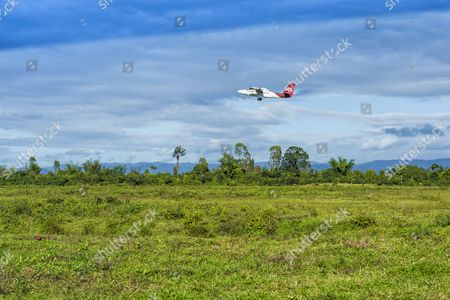 Plane taking off from Maroantsetra airport, Madagascar