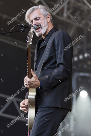 Ruben Block, singer and guitarist of the Belgian rock band Triggerfinger, performing live at Heitere Open Air, Zofingen, Canton of Aargau, Switzerland