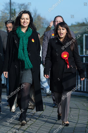 Caroline Flint, Shadow Secretary of State for Energy and Climate Change and Labour candidate Naushabah Khan out campaigning