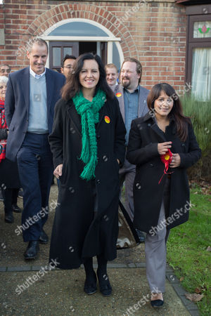 Caroline Flint Labour MP for Don Valley with party members out canvassing for votes on election day for the Labour candidate Naushabah Khan