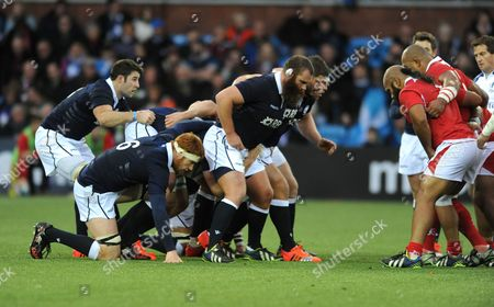 (L to R) Johnnie Beattie, Rob Harley, Geoff Cross, Ross Ford and Alasdair Dickinson - Scotland forwards prepare to pack down against the Tonga forwards.