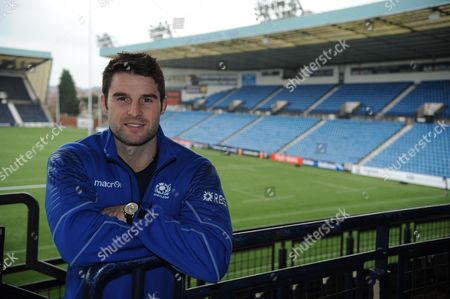Johnnie Beattie - Scotland number 8 with Rugby Park in the background, scene of tomorrow's test match against Tonga.